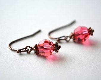 Swarovski Crystal Drop Earrings Pink Antiqued Copper Earrings Warm Summer Beachy