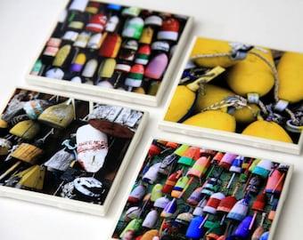 Nautical Coaster Set, Ceramic Tile, Decorative, Lobster Buoys, 4X4, Set of 4, Photography, New England, Coastal Decor