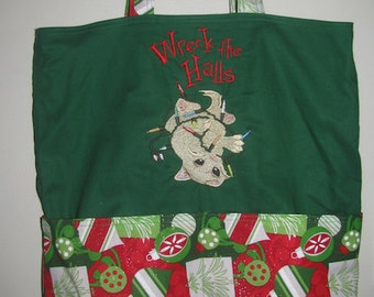 Wreck the Halls Christmas Cat Eco Friendly Tote - Shopping Bag