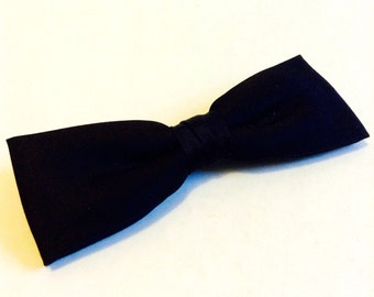 50's 60's Vintage Mid Century Clip on Tie. Black Satin Bowtie,  Bow tie.  Necktie. Mod, Eames era, Mad Men, Beatles, Rockabilly
