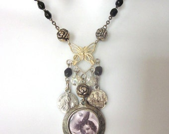 Religious Assemblage Necklace with Vintage Medals Rosary Necklace