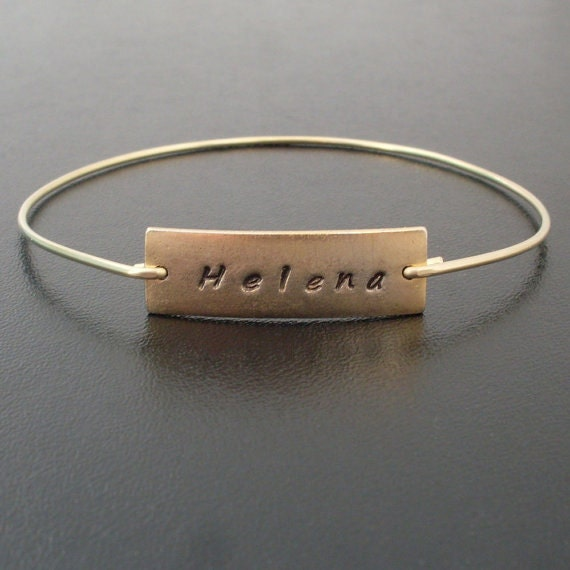 personalized name bangle bracelet gold name by frostedwillow