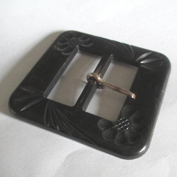 Carved Bakelite Black Buckle Belt Sash Assemblage Jewelry Supply Dressmaker Costumer Altered Art Deco
