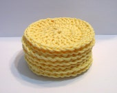 Yellow, Facial Scrubbies, Set of 7, 100% Cotton, Handmade by NormasTreasures on etsy