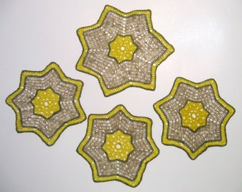4 Doilies, Starburst Crochet Doilies, Handmade, Yellow, Green, Tan, Rustic