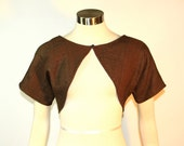 Brown Wool Patchwork Shrug