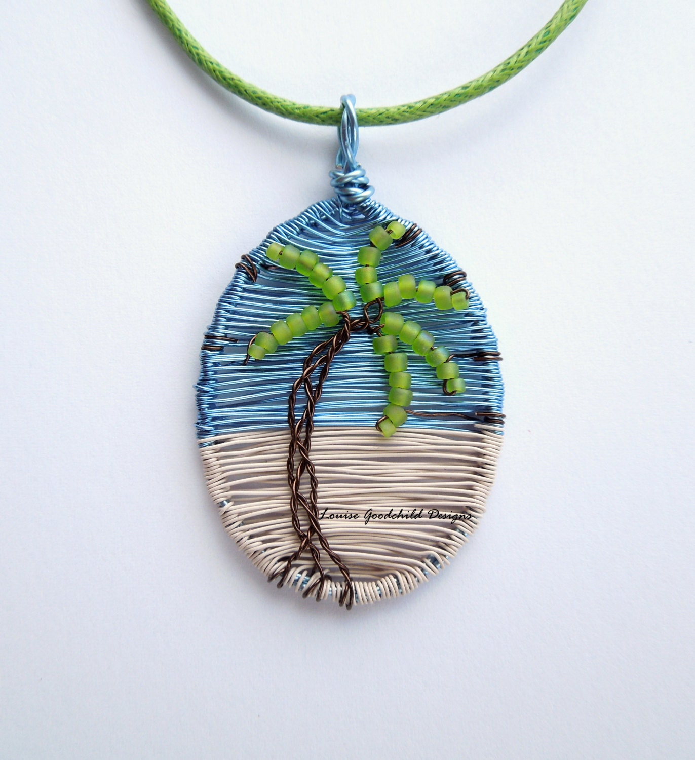White Sands Palm Tree Pendant Wire Tree Pendant Ocean