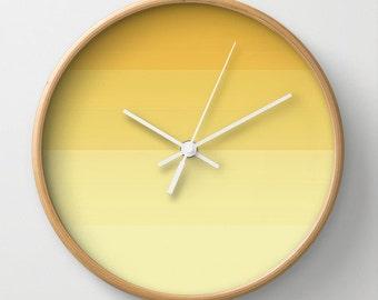 Yellow Ombre Wall Clock 10 inch Diameter