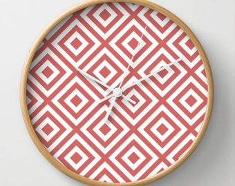 Coral Diamond Wall Clock 10 inch Diameter