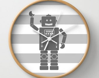 Robot 2 Gray Wall Clock 10 inch Diameter Gray and White Stripes
