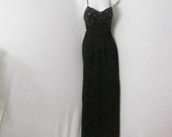 Evening Wear Party Dress Long Black Beaded Cache Rhinestones Chic Party Dress S