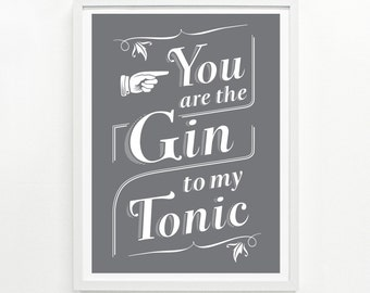 Gin Cocktail, Gift for Gin Lover, Funny Signs, Bar Signs, Home Decor Gin Gift - Gin & Tonic Screenprint Poster 12 x 16: