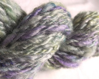 Lavender Moss HANDSPUN Dyed Yarn – 100% Wool - 43 yds, Worsted Weight
