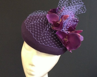 Dark Orchid Felt Beret - Great felt hat perfect for a wedding or the races, can be made in other colours