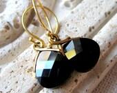 Black and Gold Earrings, Black Crystal Earrings, Swarovski Crystal Earrings, Gold Earrings, Bridesmaid Earrings