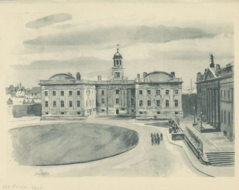Old Prison, York, Yorkshire, Vintage Print 177, 1947, Old England Countryside, Great Britain World War 2, WW2