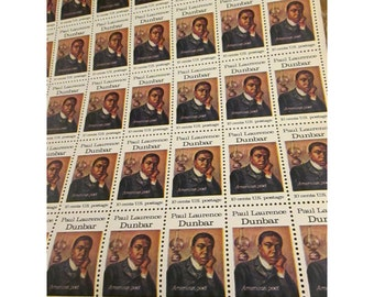 Paul Lawrence Dunbar  - 1975 American Arts Series  - 10 Cent Vintage US Postage Stamps – Sheet of 50 Unused Stamps
