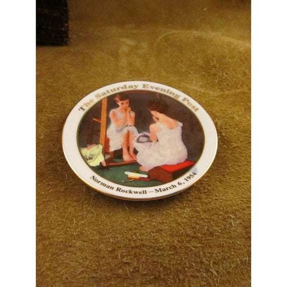 """Norman Rockwell – """"Girl at the Mirror"""" – Small Collector Plate - Reserved for Houseofpatience"""
