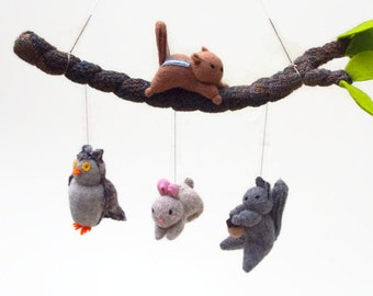 baby mobile, woodland mobile, nursery decor, animal mobile, woodland nursery, crib mobile
