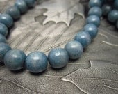 Denim Blue Druk Czech Glass Round Beads 8mm