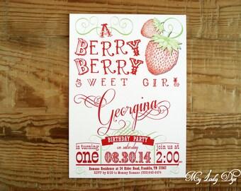 25 Summer Strawberry Birthday Invitations - Red Green White - By My Lady Dye