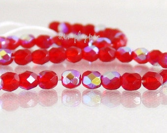 Siam Ruby AB, Czech Glass Beads Fire Polished 4mm 50 Faceted Round GLass