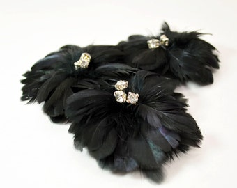 Delightful Feather Flowers - Black (1pc)
