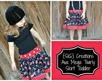 INSTANT Download SIG Ava Mega Twirly Skirt Pattern eBook - Size 12 month to 5T