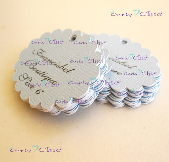 "40 Personalized Oval Scalloped Die cut  Size 2"" In Non-Textured or Textured Cardstock Paper"