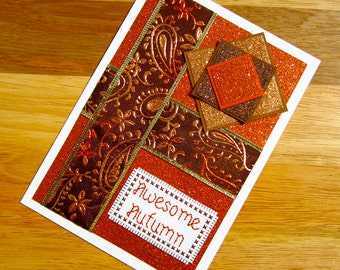 SALE 50% OFF - Awesome Autumn Thanksgiving Fall Handmade Cross Stitch Greetings Card