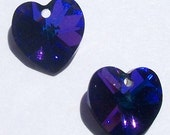 Swarovski Crystal Bead HEART Pendant crystal heart Style 6228 HELIOTROPE -- Available in 10mm, 14mm and 18mm