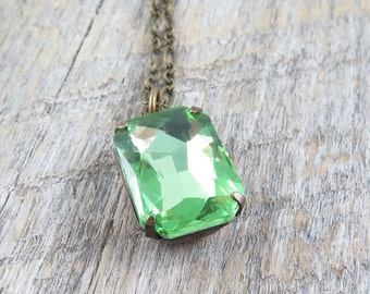 Peridot Necklace Green Rhinestone Necklace Pendant Necklace Vintage Style August Birthstone Holiday Gift - Estate in Peridot