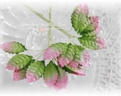Miniature Pink Tip Mulberry Leaves Set of 20 for Scrapbooking, Cardmaking, Altered Art, Wedding, Mini Album