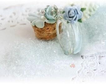 Glitter Glass Bottles .5 Ounces, Hand Tinted Diamond Dust, German Glitter, Powder Blue