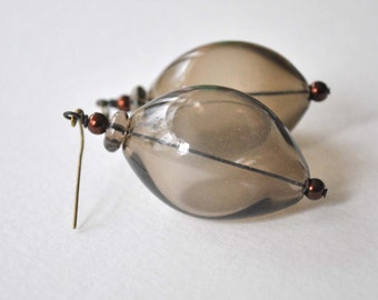 Sepia Brown Hollow Blown Glass Earrings, Large Light Weight, Dangle Earrings