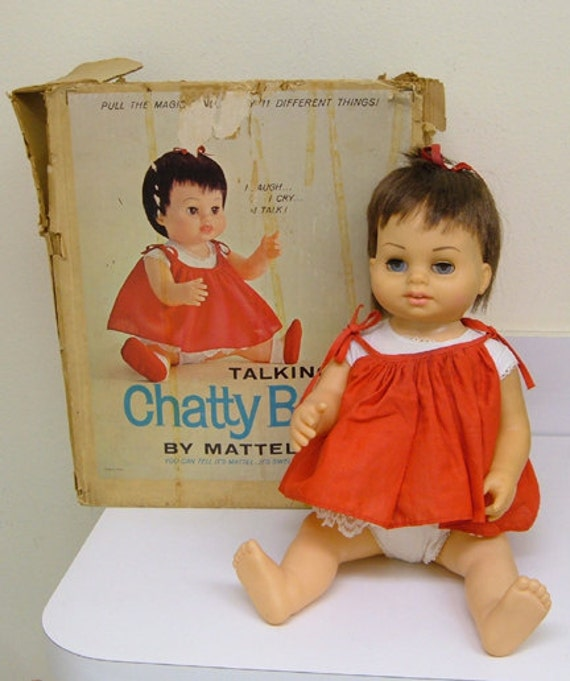 Vintage 60s Mattel Chatty Baby Doll Original Box By