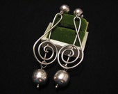 HUGE Vintage Taxco Mexico Heavy Sterling Silver Modernist Treble Clef Musical Note Dangle Pierced Earrings