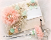 Guest Book, Wedding, Signature Book, Signing Pen, Ivory, Blush, Coral, Gold, Mint Green, Peach, Pearls, Crystals, Lace, Vintage, Elegant