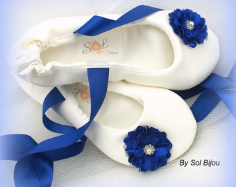 Ballet Flats, Bridal Flats, Ivory, Royal Blue, Winter Blue, Wedding, Shoes, Flats, Flower Girl, Ballerina Slippers, Satin, Crystals, Pearls
