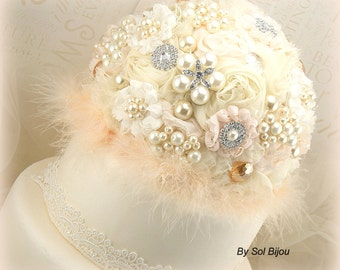 Cake Topper, Brooch, Wedding, Cake Decoration, Ivory, Cream, Peach, Pearls, Crystals, Feathers, Brooches, Elegant, Gatsby