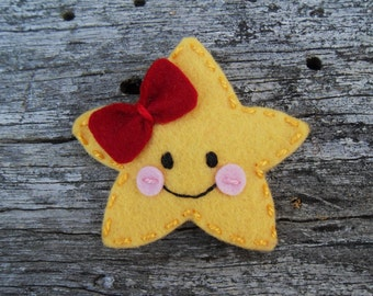 Twinkle  Star Wool Felt  Snap  Hair Clip ( Large Size)