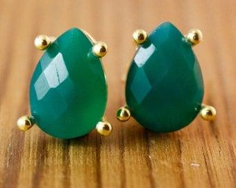 Green Onyx Earrings - Onyx Stud Earrings - Post Setting, Emerald Green