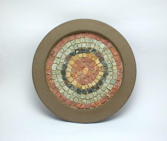 decorative pot saucer with handmade greek marble mosaic