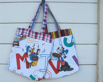 Music Love Upcycled Initial Tote - Classic Disney & Alphabet Novelty Purse / Diaper Bag / Child Tote - Eco Friendly Kids - Retro Fun Kitsch