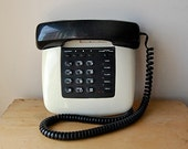 Vintage 1980s Pushbutton Black and White Retro Working Telephone with Hold and Speed Dial Features