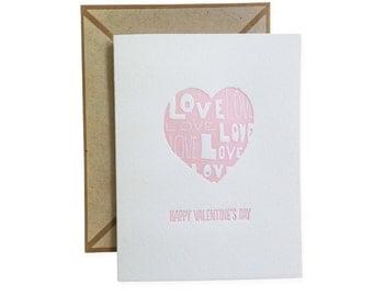 Love Heart letterpress card - set of six