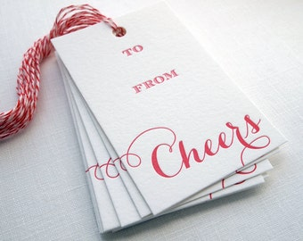Letterpress Gift Tags - Cheers Calligraphy Set of 10