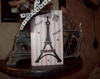 FRENCH decor pink stripes EIFFEL Tower block  PARIS decor,shabby chic,Paris bedroom decor,French bedroom,Paris apartment