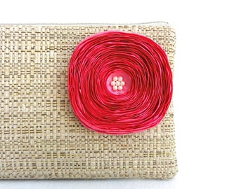 Neutral Tan Clutch Purse / Hot Pink Satin Flower - READY TO SHIP