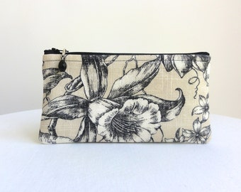 Floral Clutch in Black & Tan / Zipper Bag - READY TO SHIP